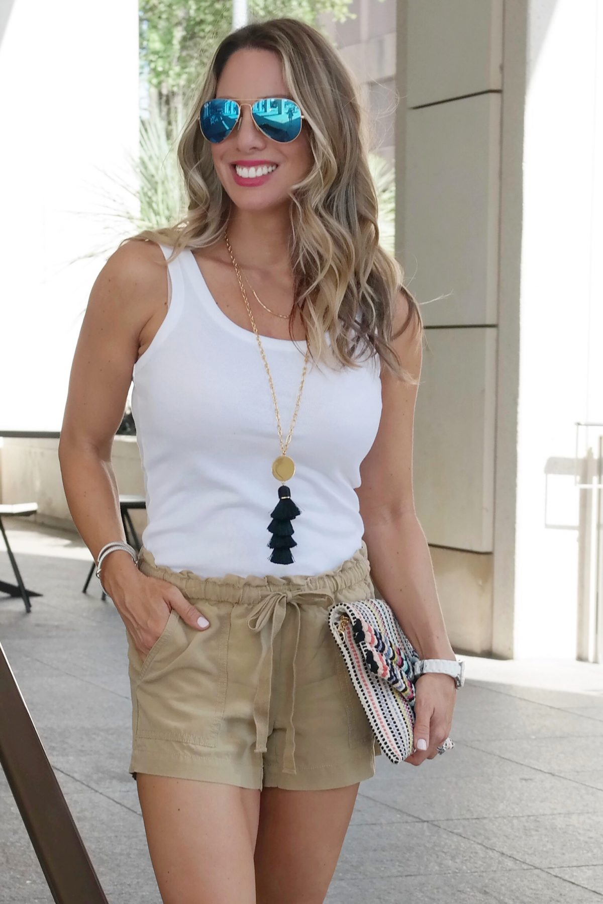 Spring & Summer outfit - white tank and safari shorts