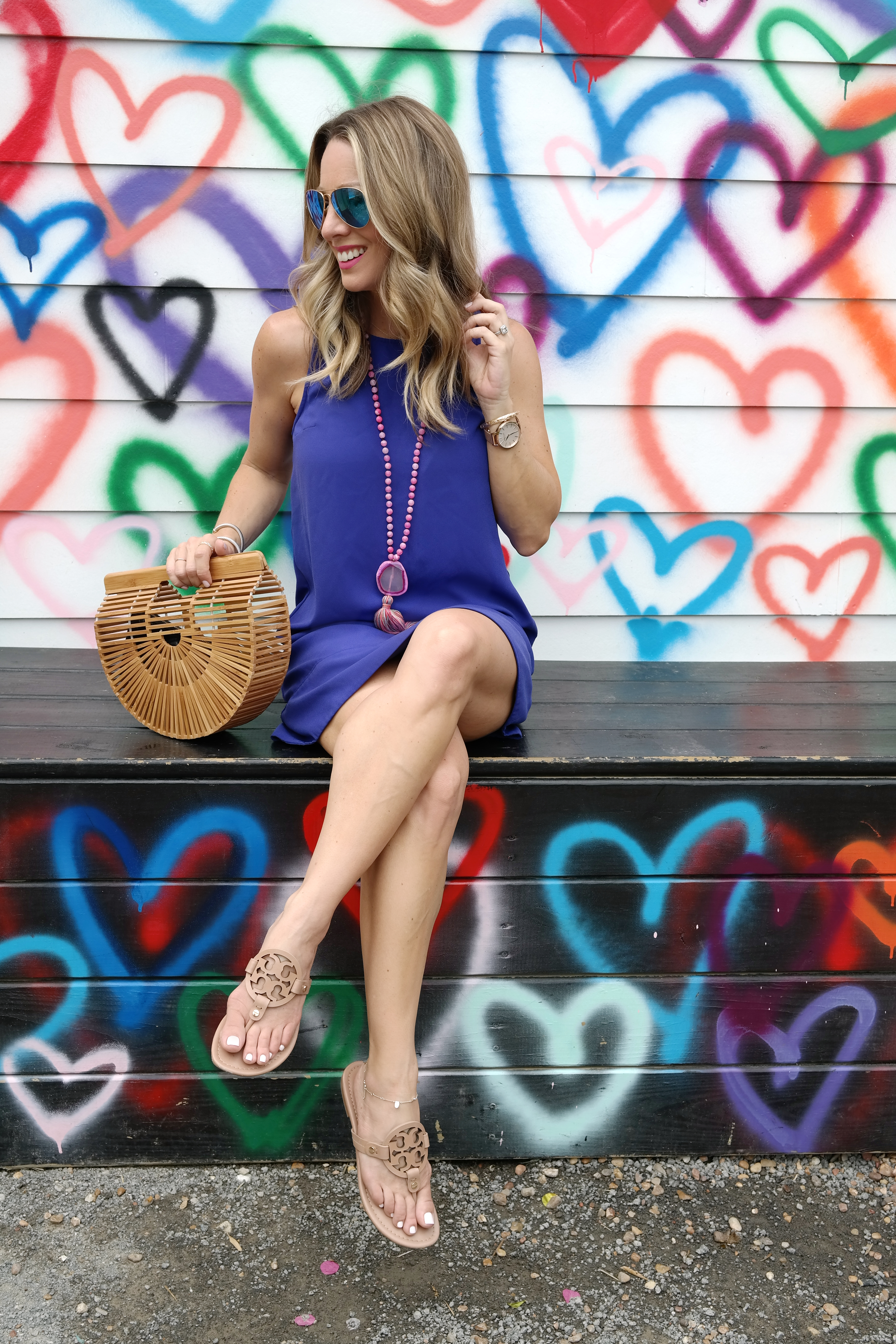Spring and Summer fashion -racerback tank dress and wooden bag