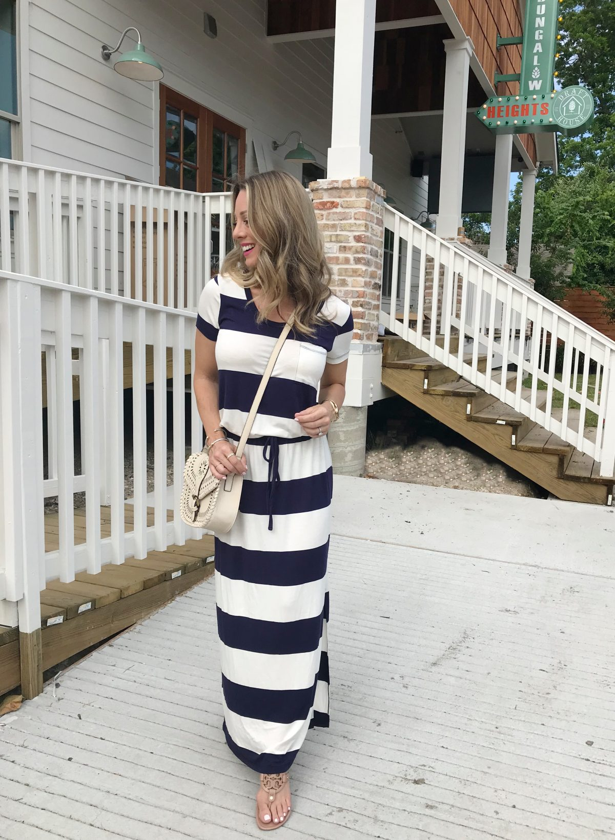 Spring and Summer fashion - striped drawstring maxi dress