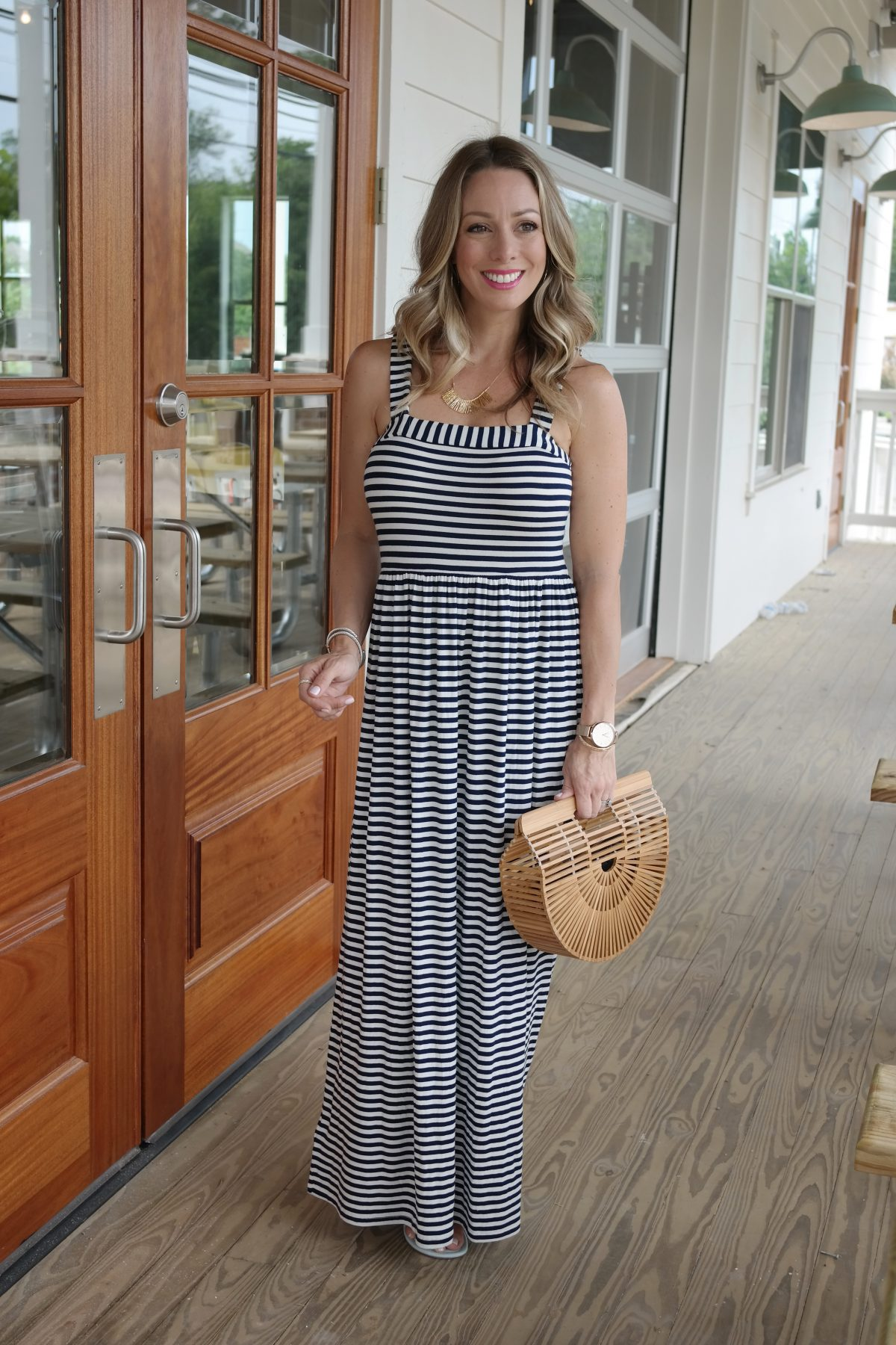 Spring and Summer fashion - striped maxi dress