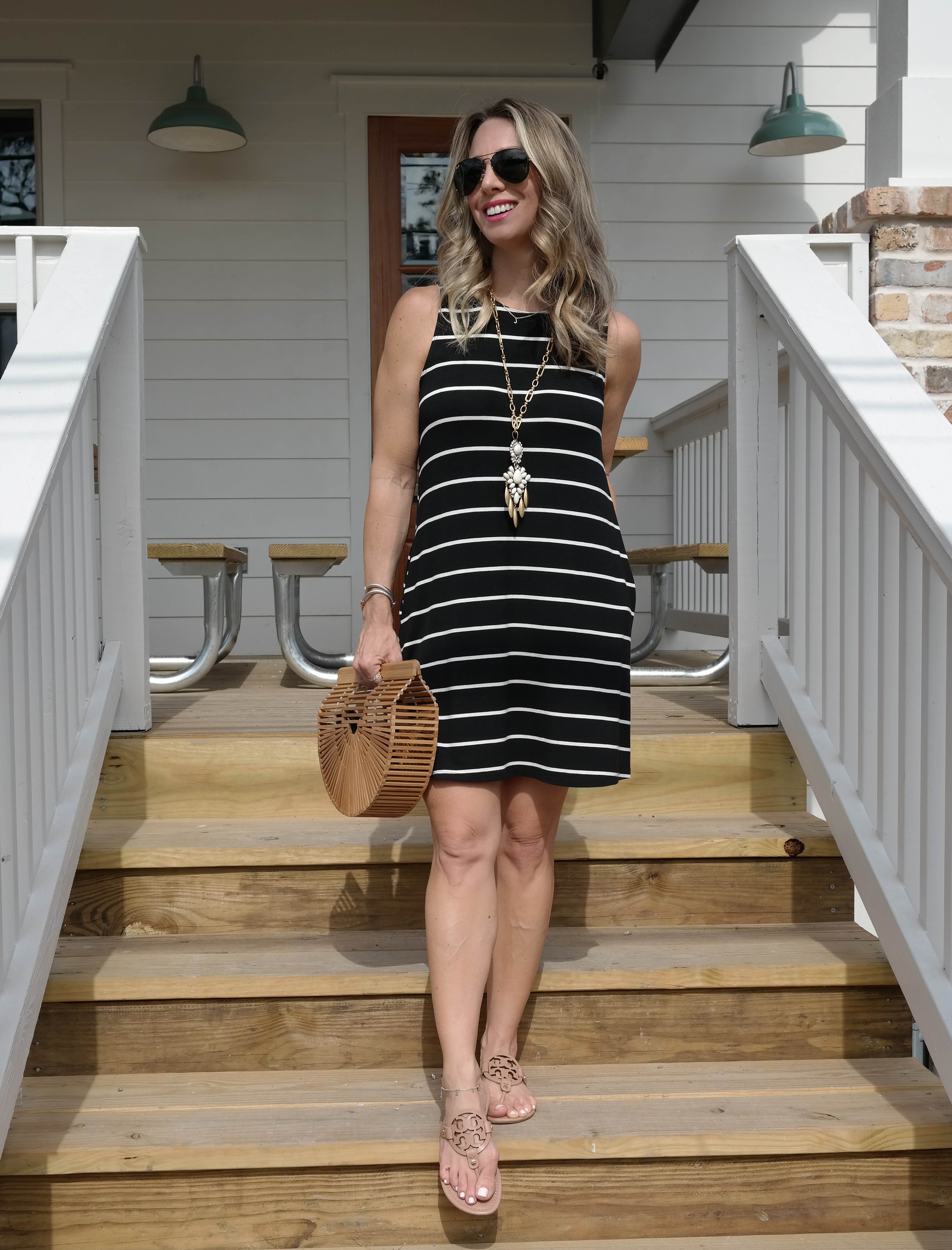 Spring & Summer fashion - striped swing dress with pockets $35
