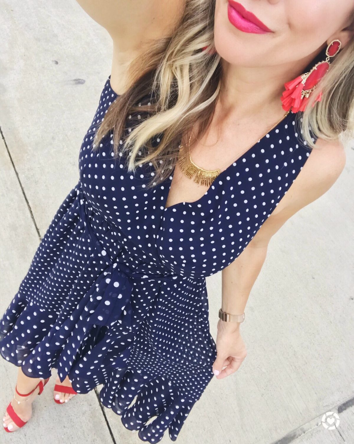 Spring and Summer outfit ideas - navy polka dot dress with red accessories