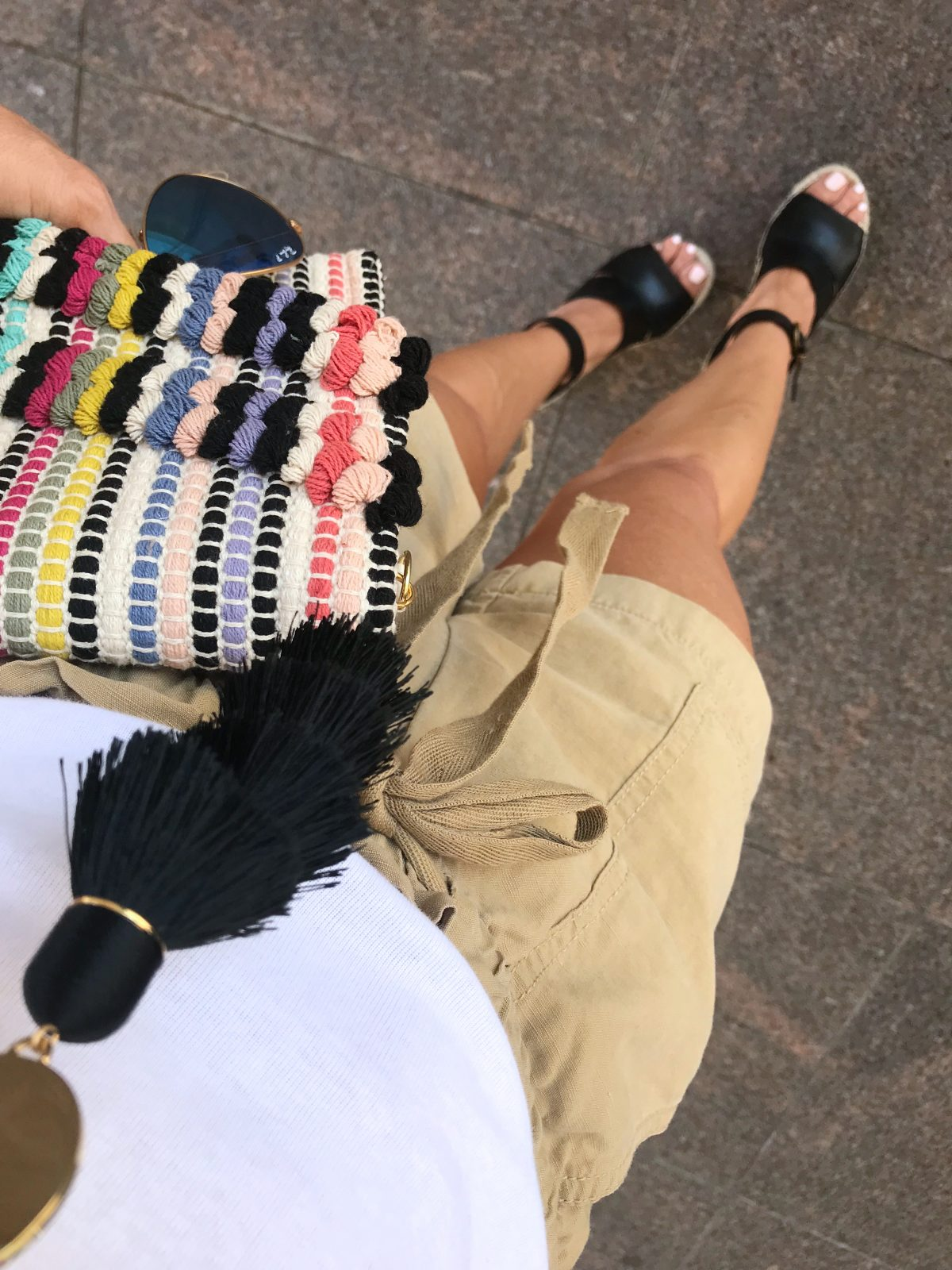 Spring and Summer outfit ideas - safari shorts with black wedges