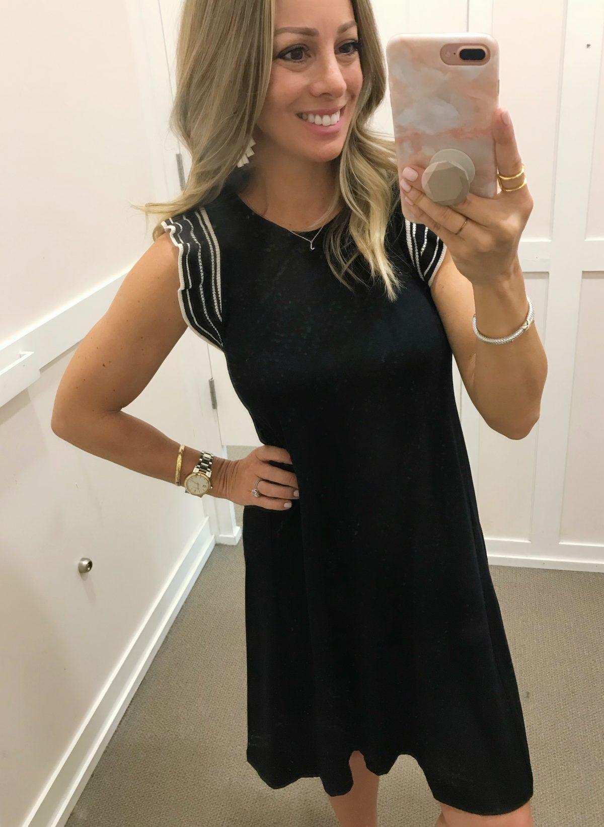 Spring fashion -black flutter sleeve dress