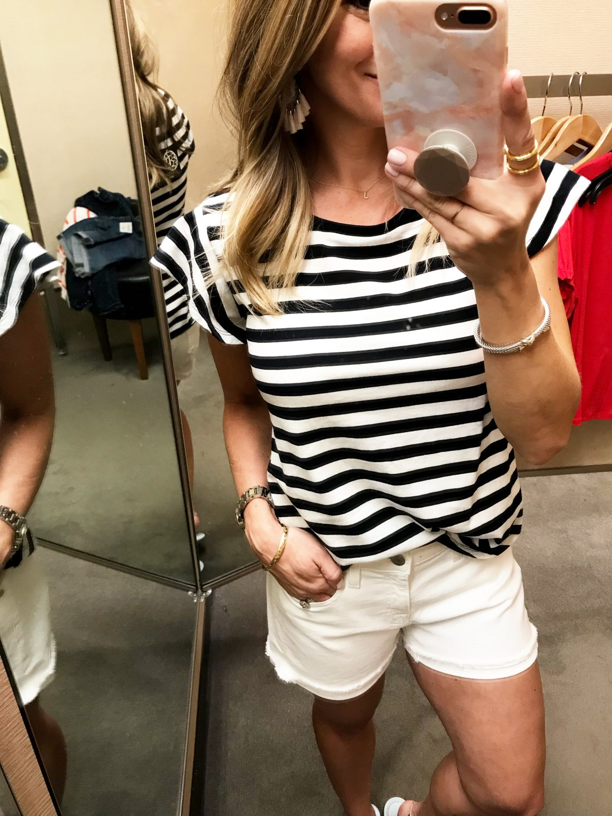 Spring fashion - striped flutter sleeve tee