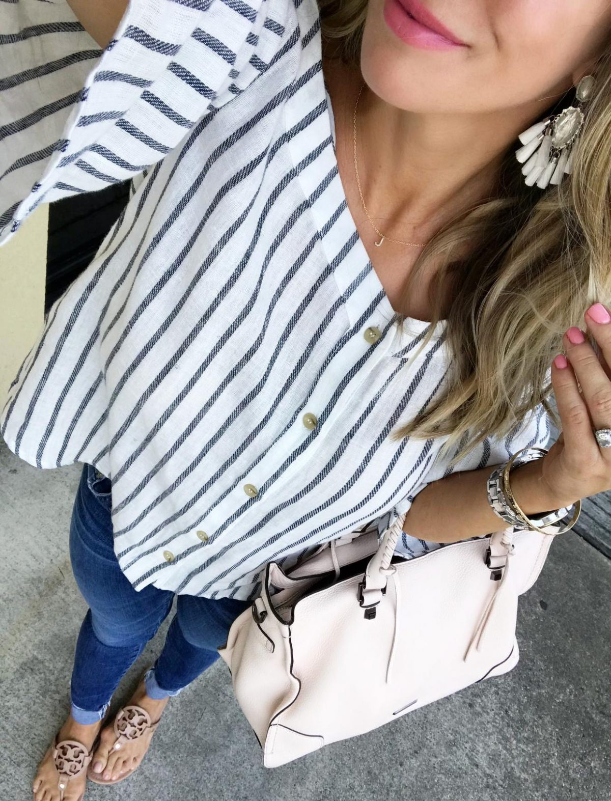 Spring outfit - Striped cold shoulder top jeans and flat sandals