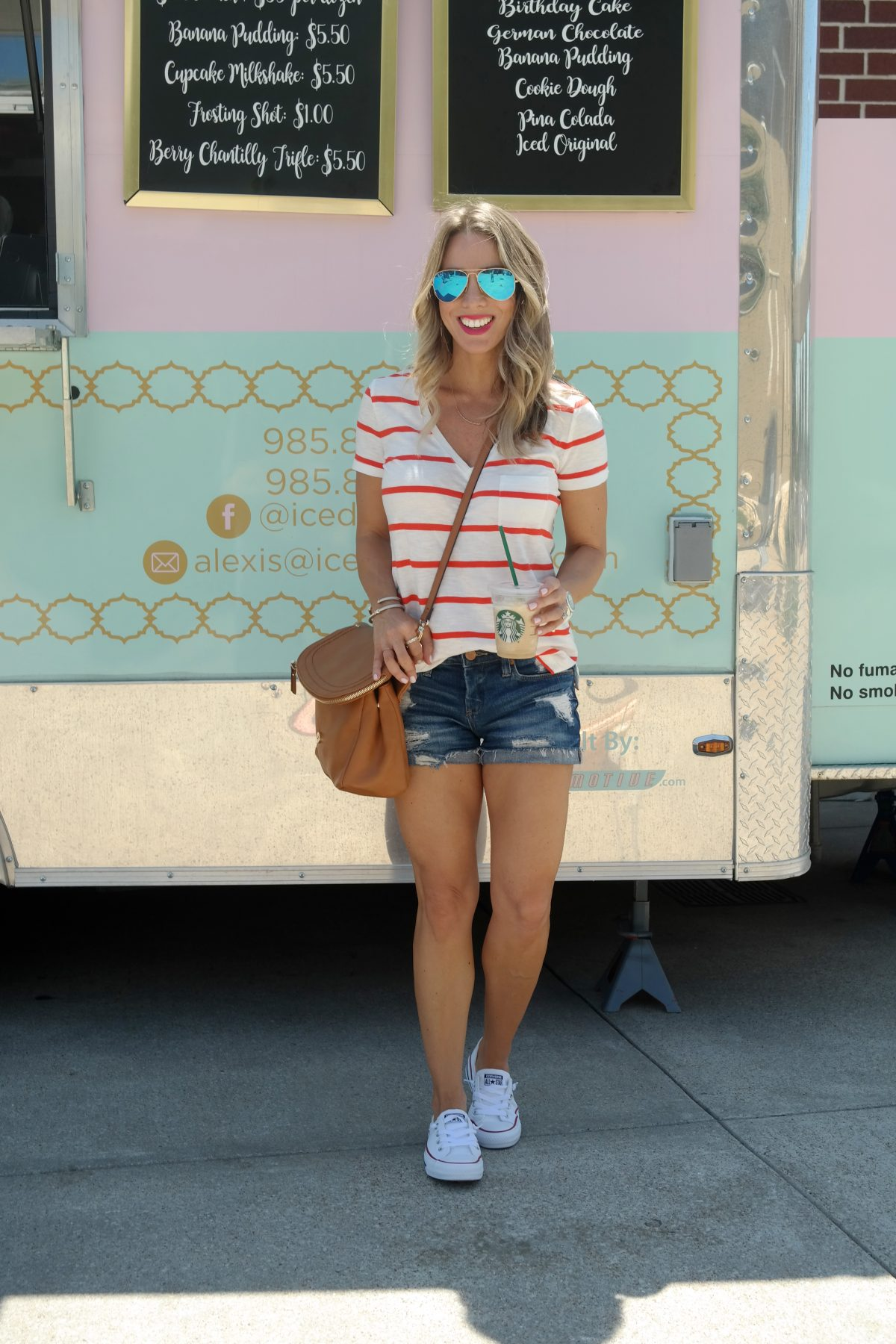 Spring outfit - Striped v-neck t shirt and jean shorts