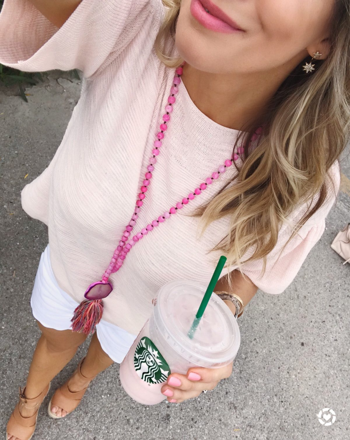 Spring outfit - pink flutter sleeve top and white shorts