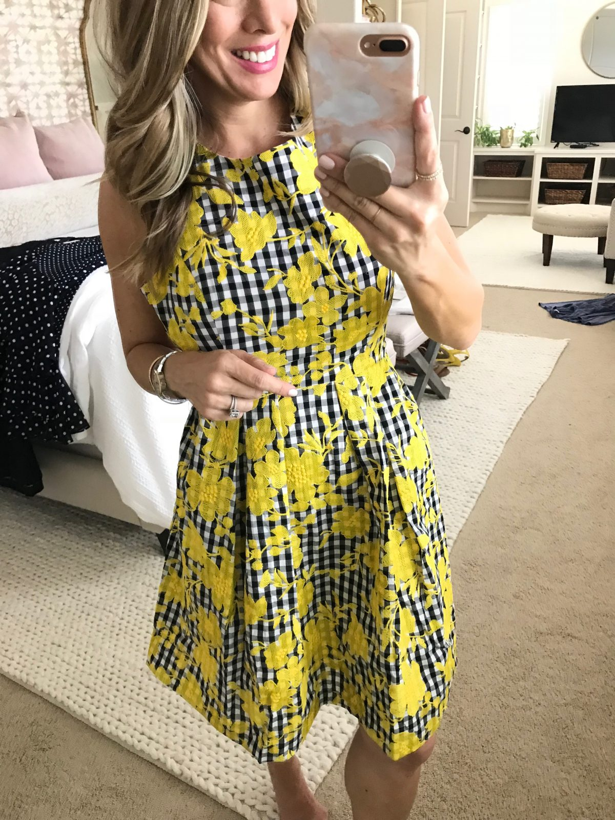 cute summer gingham floral dress