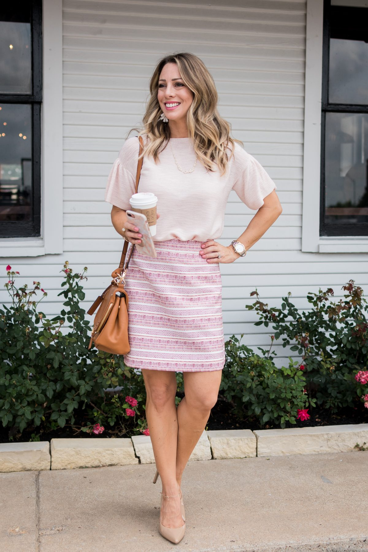 Work Outfit- pink flutter sleeve top with pink skirt and nude heels