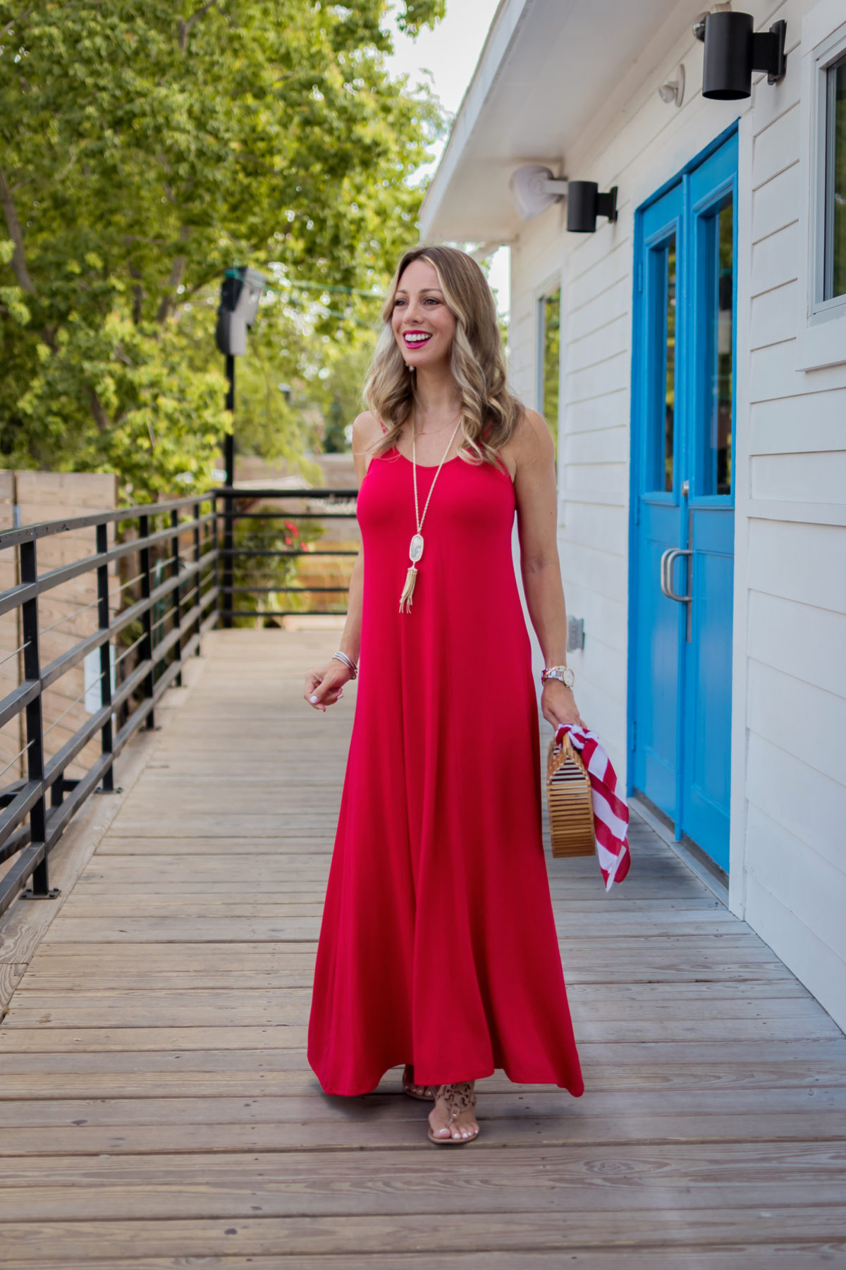 cute fourth of july outfit ideas maxi dress