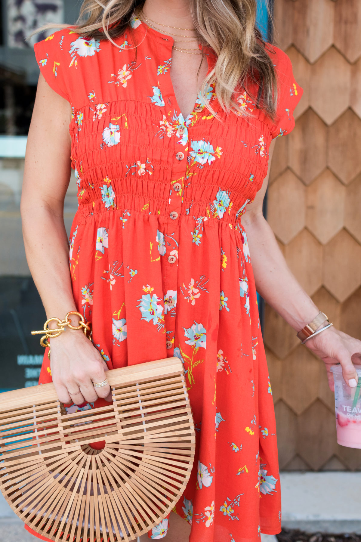 Cute summer dress and wooden bag