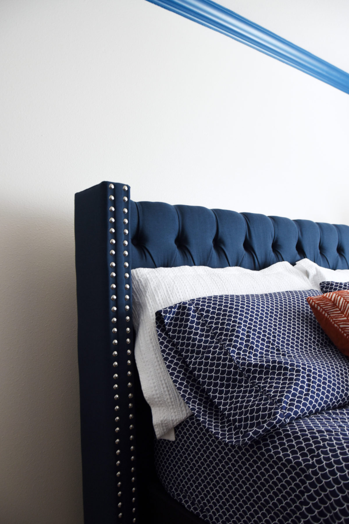 boys bedroom makeover upholstered navy bed