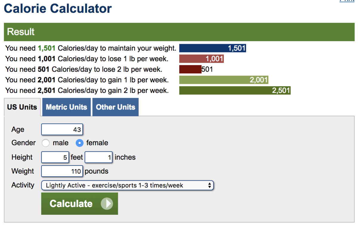 calorie calculator for losing weight