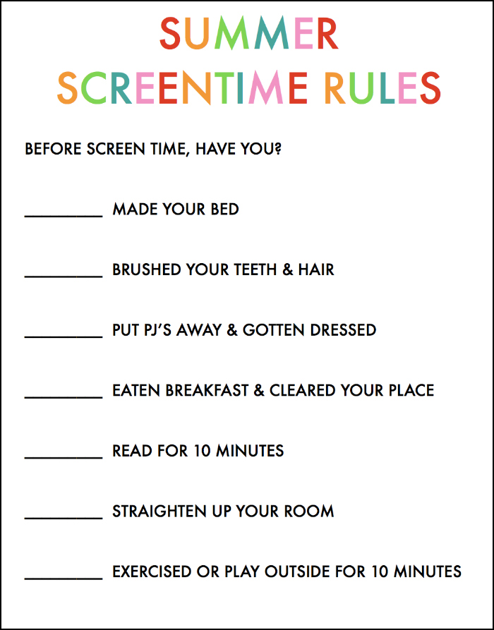 Summer Screentime Rules for Kids
