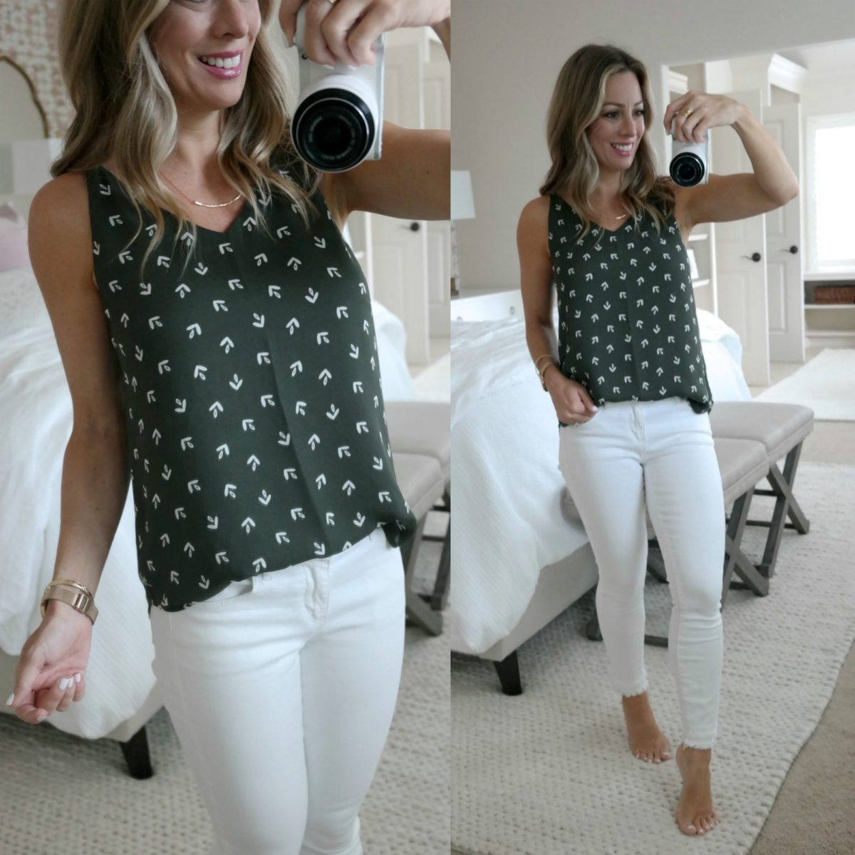 summer tops and white jeans
