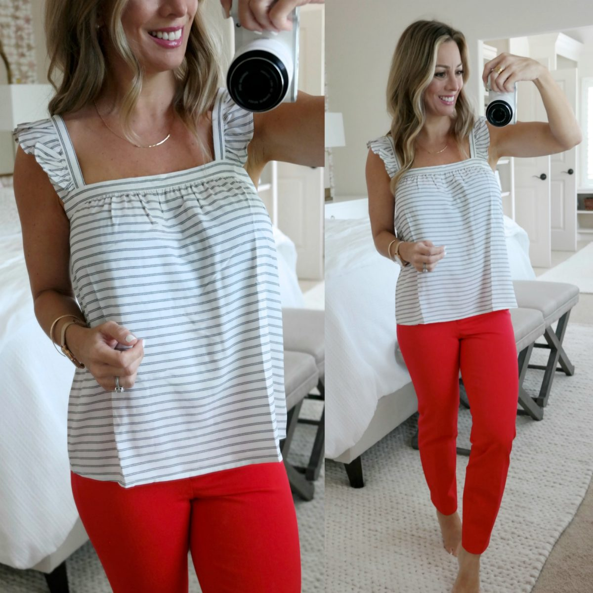 summer red pants