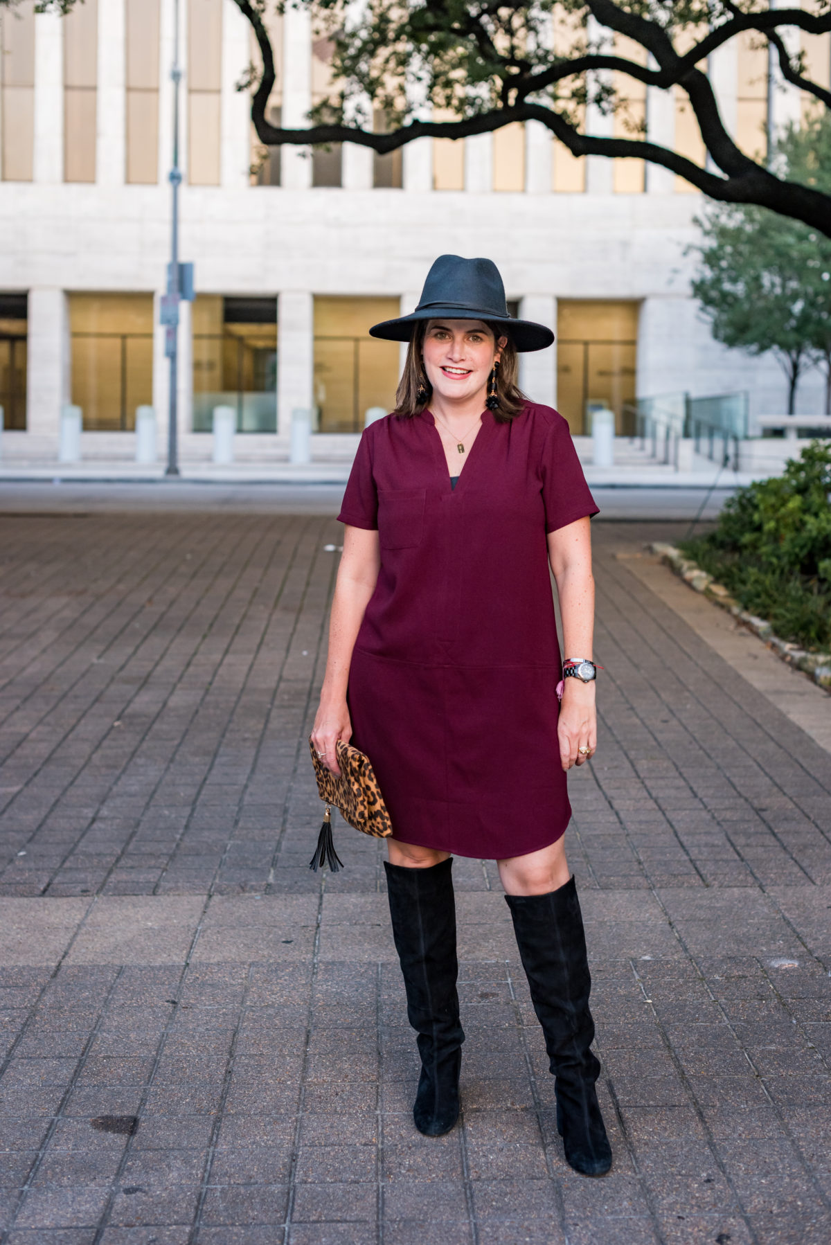 how to wear a tshirt dress in the fall