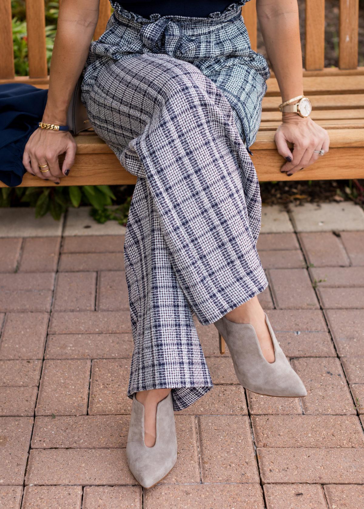 wide leg tweed dressy jumpsuit