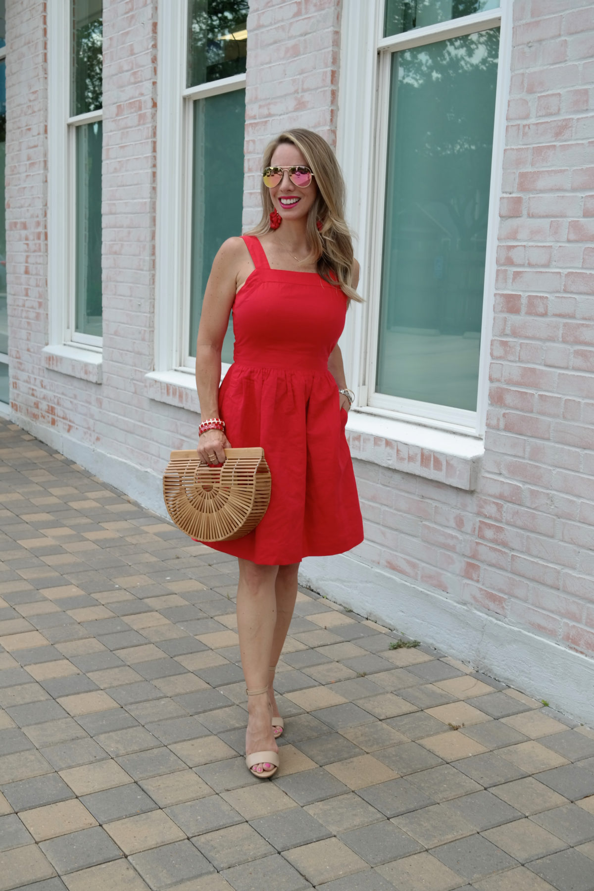 red apron dress