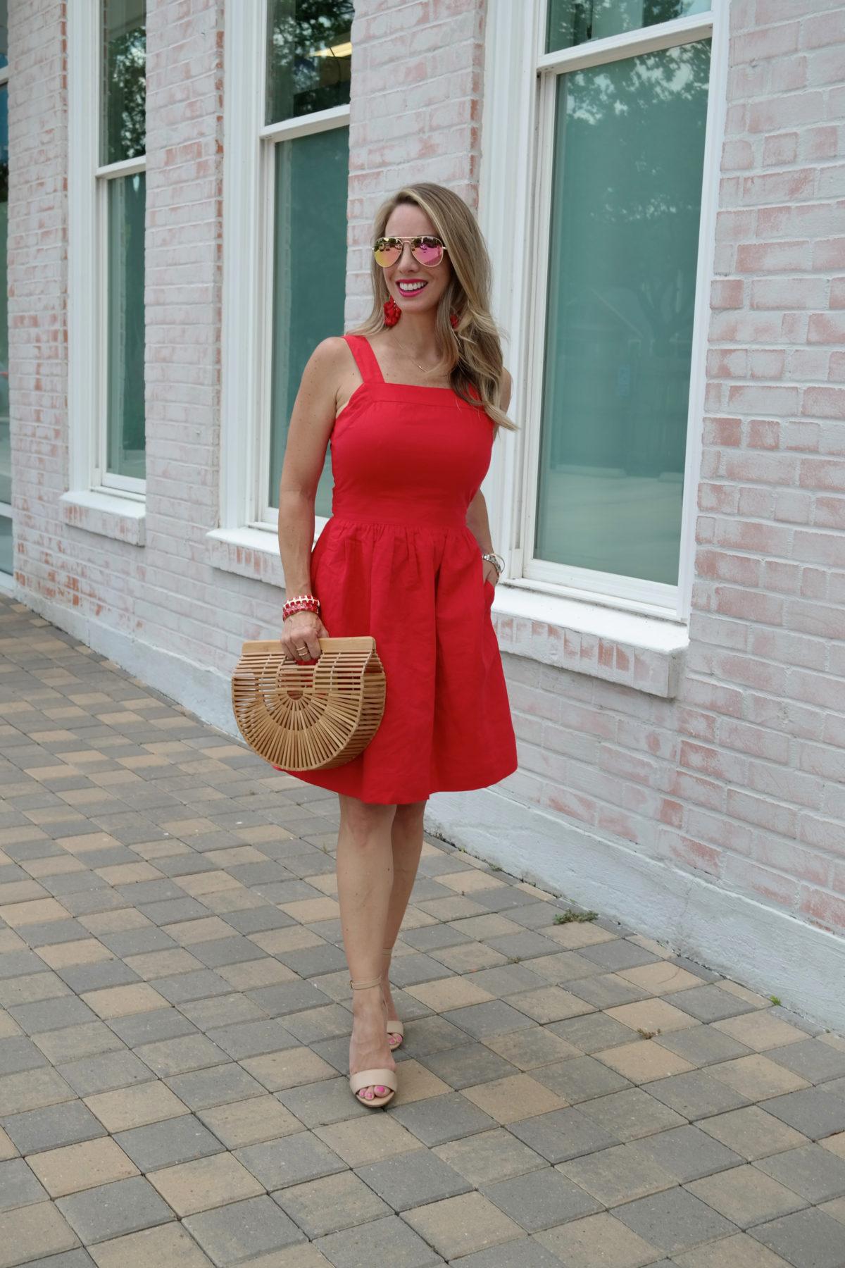 red apron dress