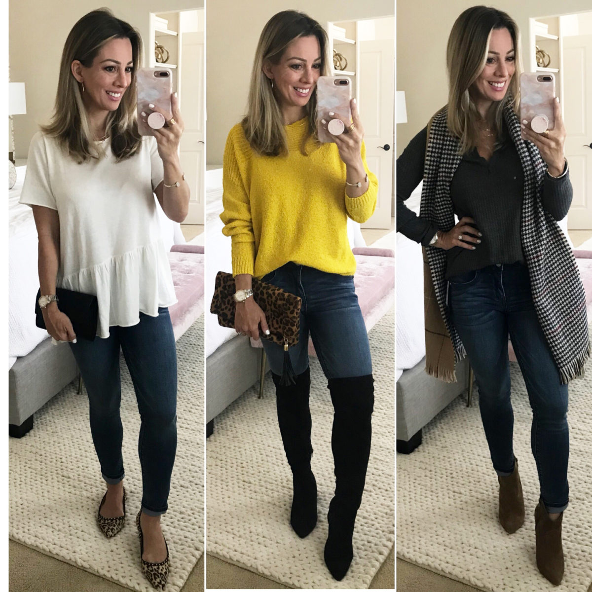 Cute fall outfit wit and wisdom skinny jeans