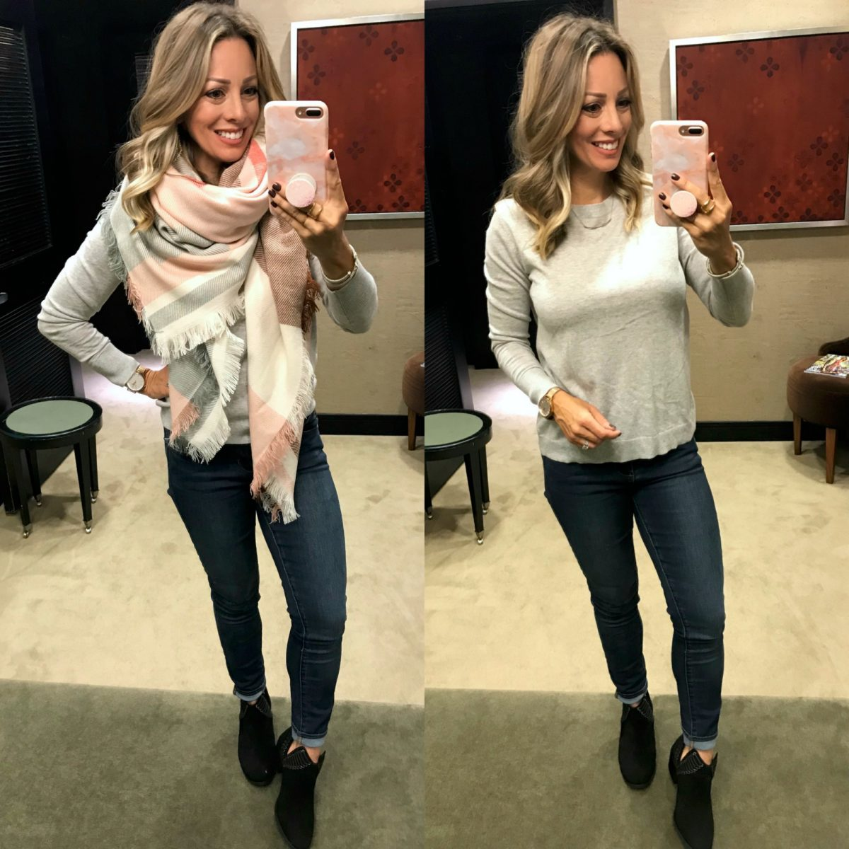 Nordstrom Anniversary Sale grey sweater and plaid scarf