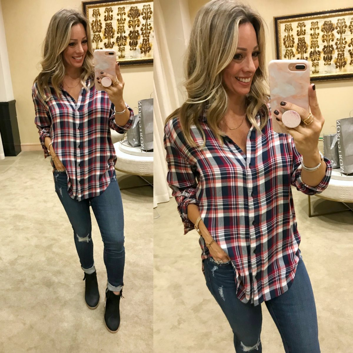 Nordstrom Anniversary Sale try-on plaid shirt