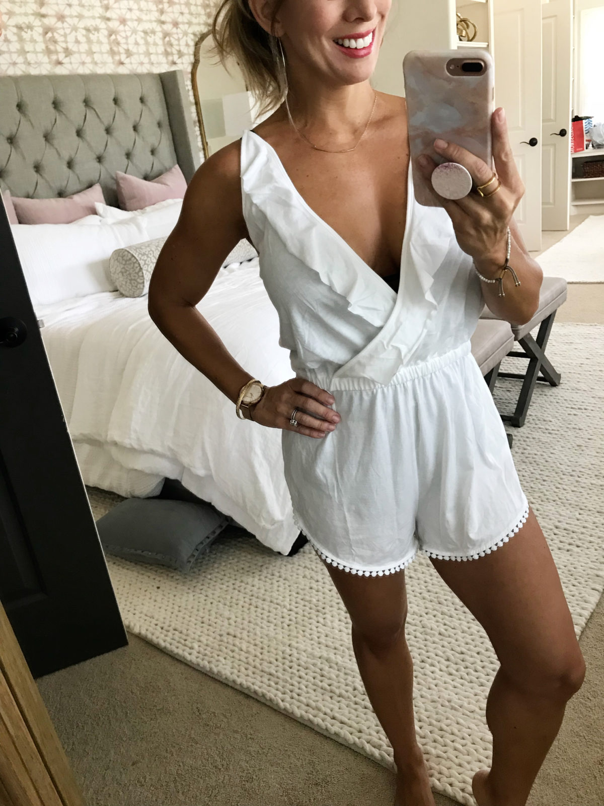 White swimsuit cover up