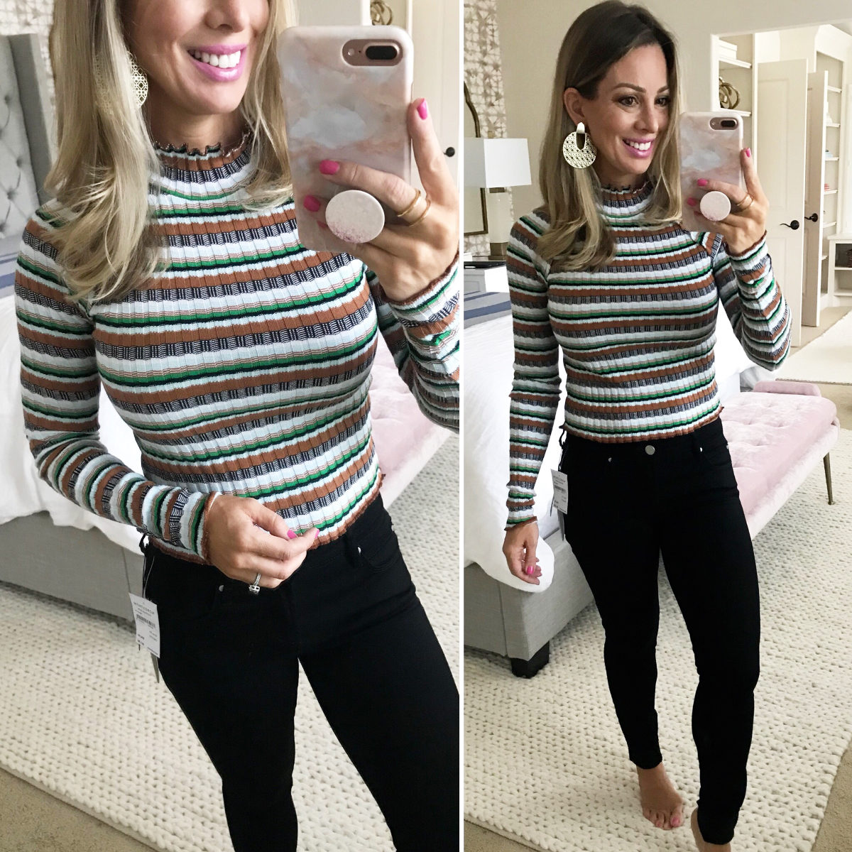 Black Jeans and stripe sweater