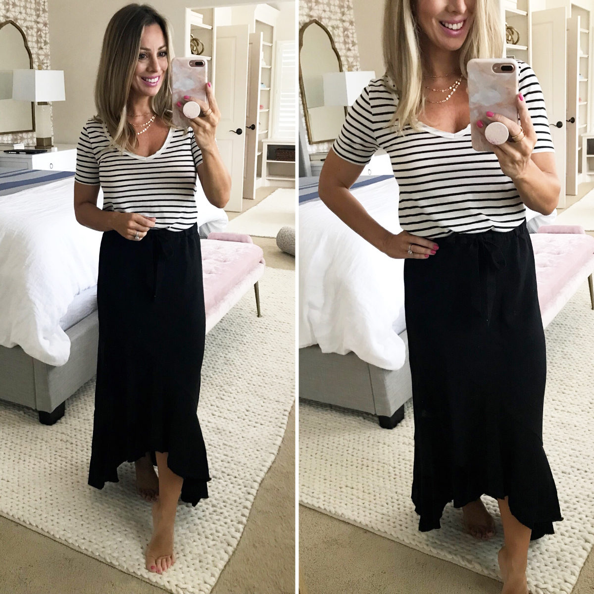Maxi skirt and striped top