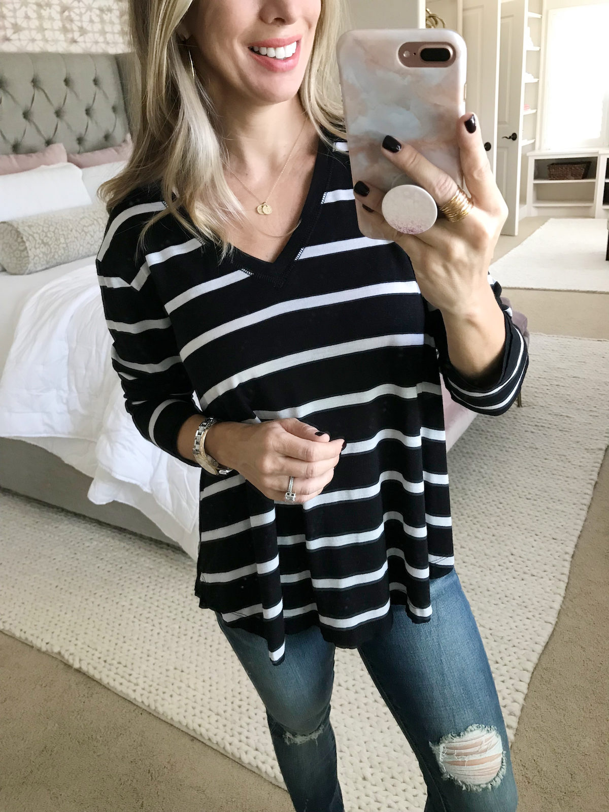 striped basic long sleeve tee