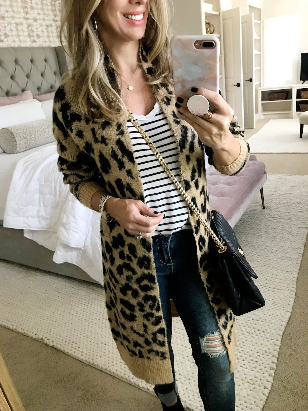 leopard print fall denim outfits