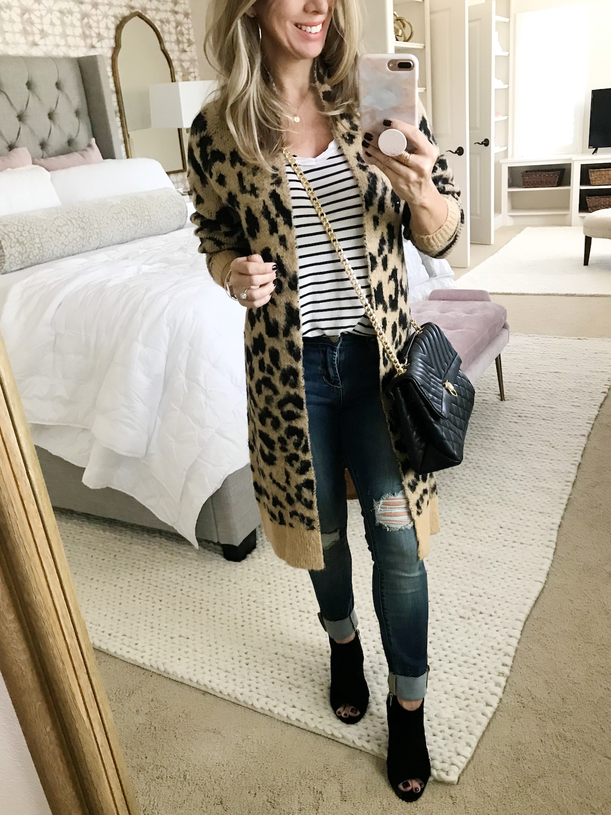 leopard print cardigan fall denim outfits