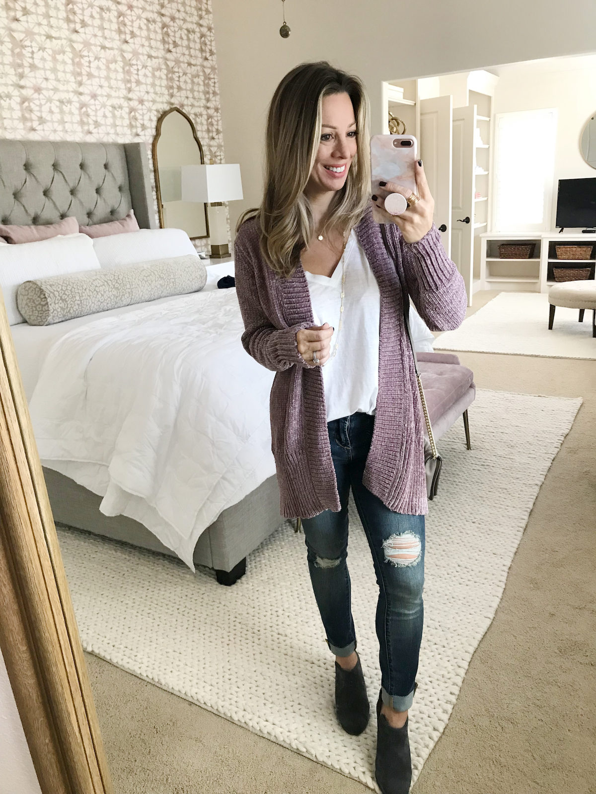 fall denim outfits chenille cardigan