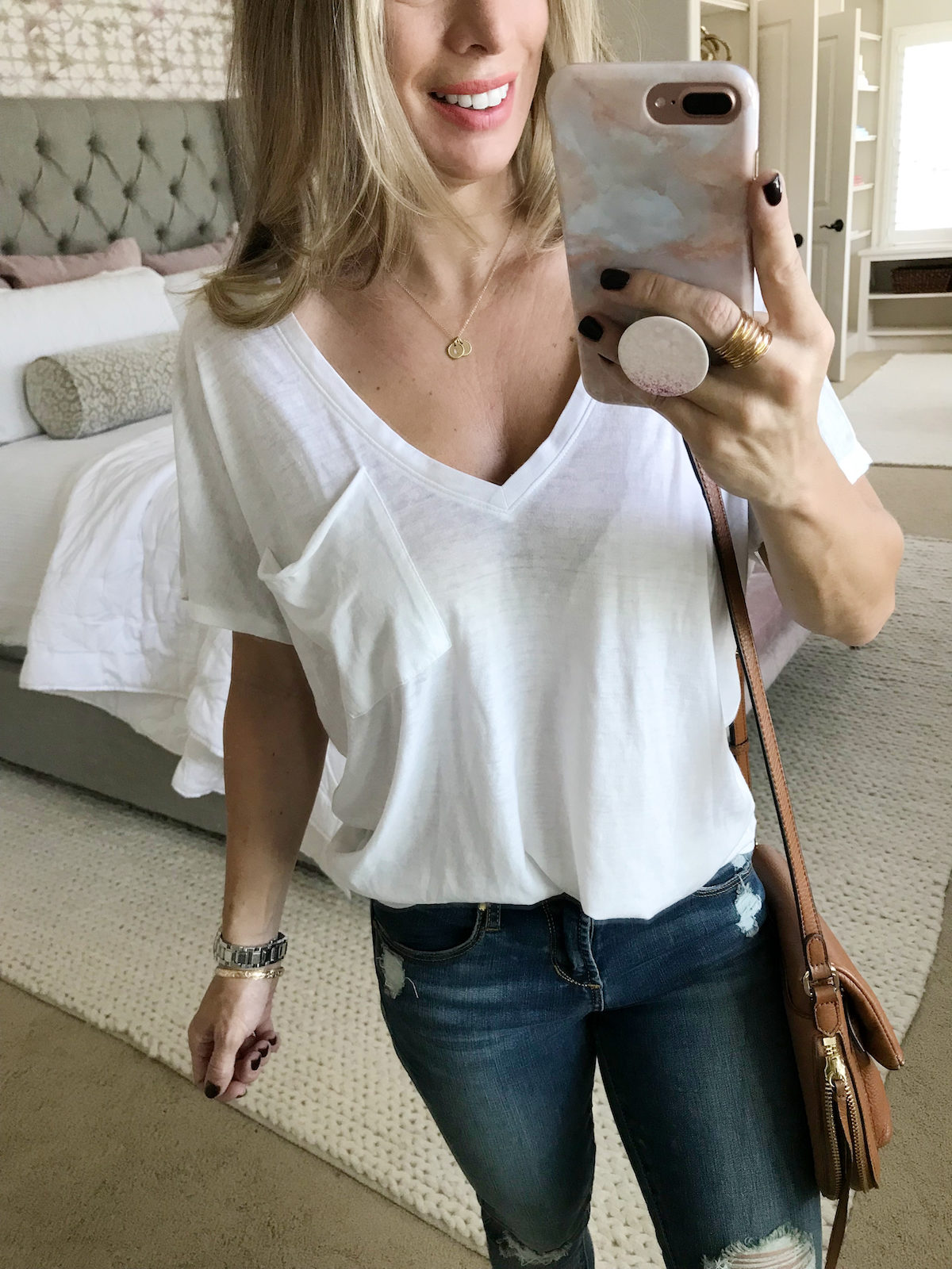 basic white pocket v neck tee