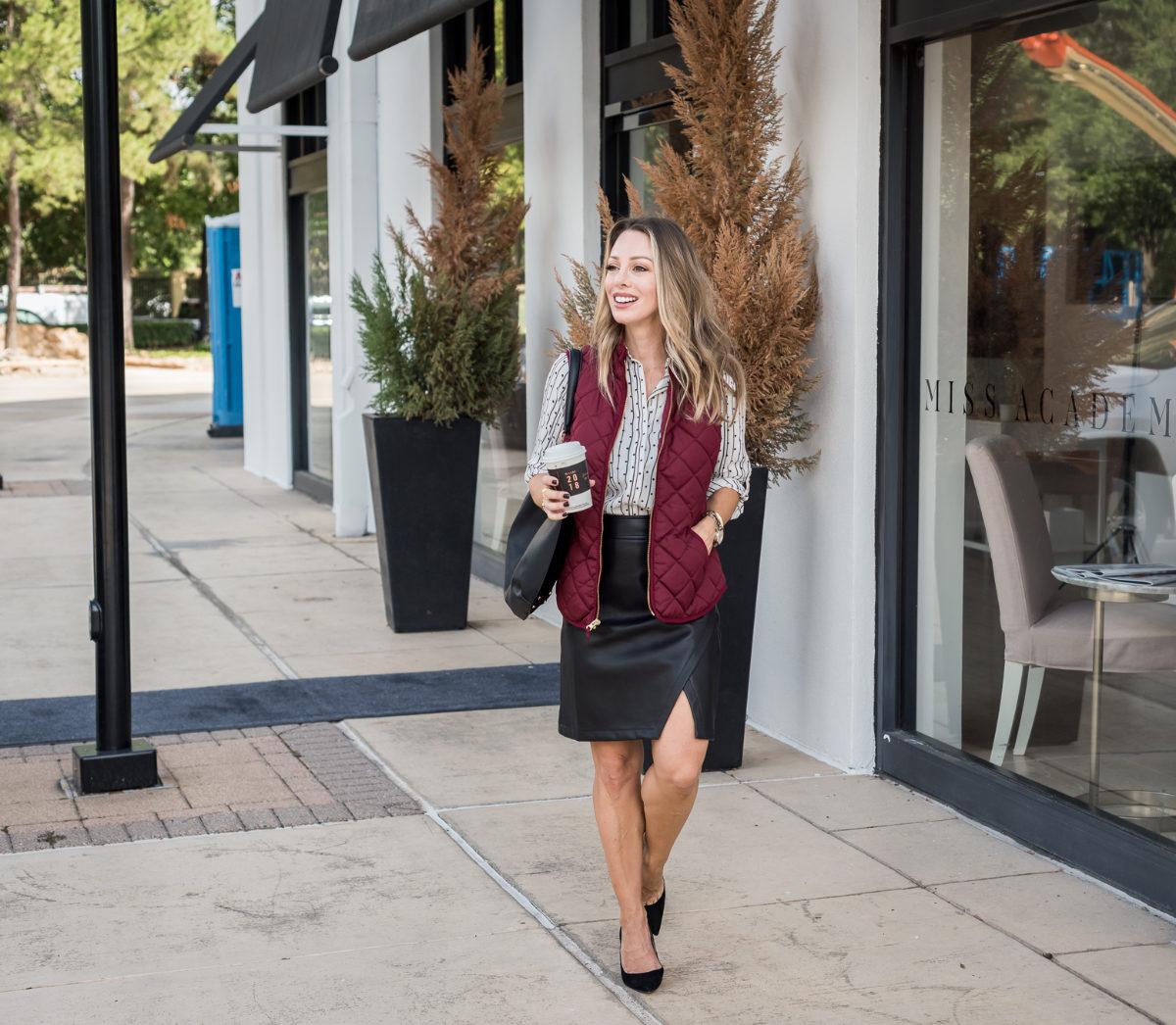 LOFT black leather skirt outfit ideas