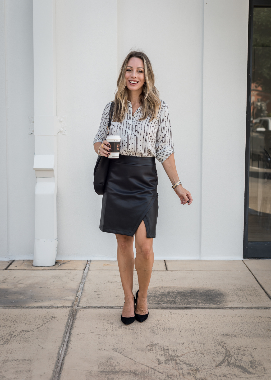 LOFT black leather skirt outfit ideas