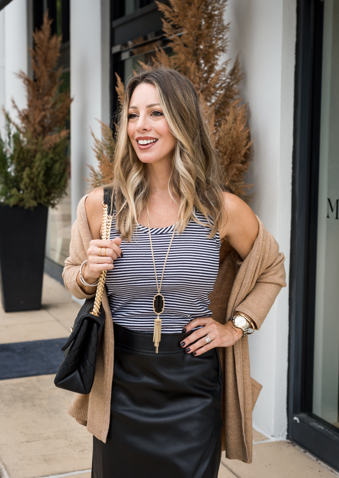 Loft striped tank and cardigan for fall