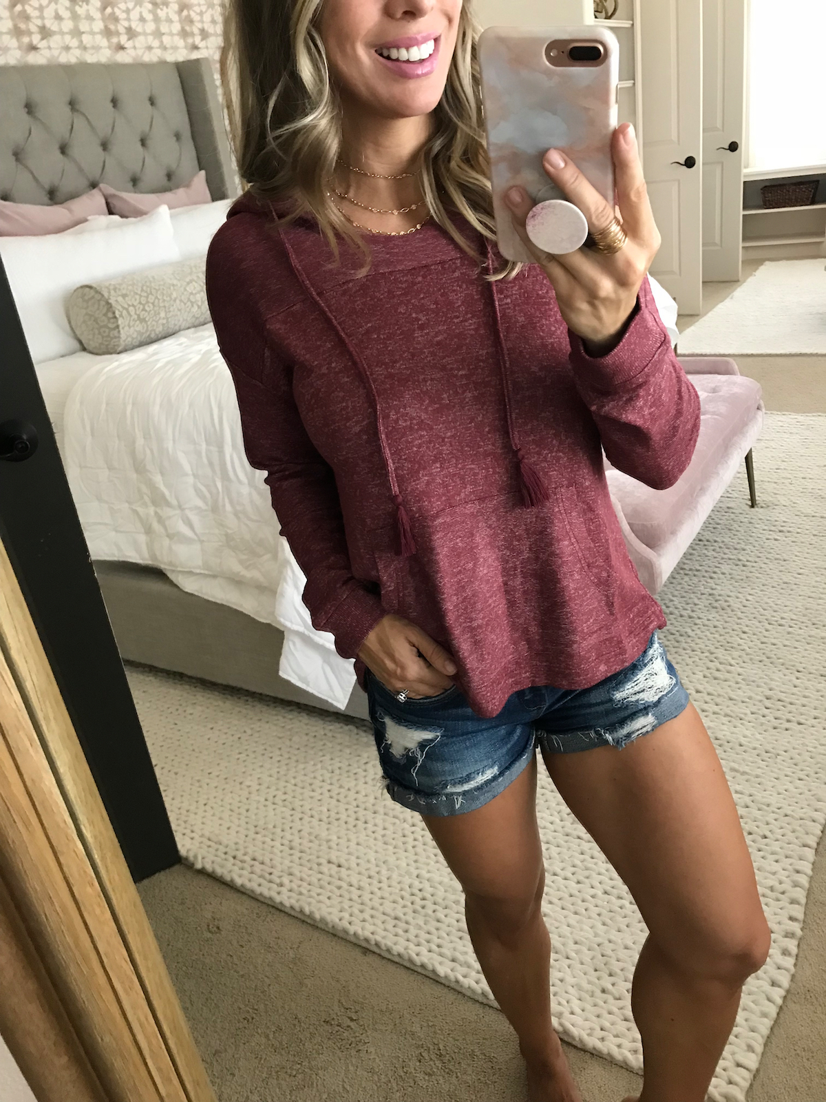 Pullover and jean shorts