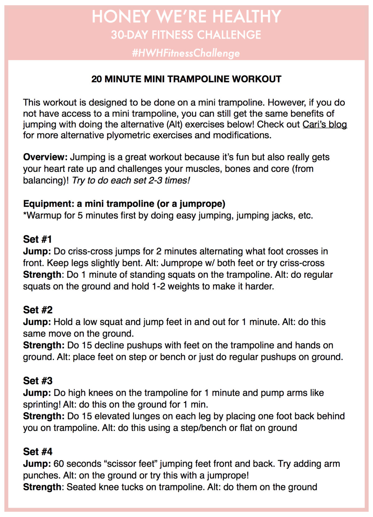 Hwh Fitness Challenge Week 4 Trampoline Workout At Home