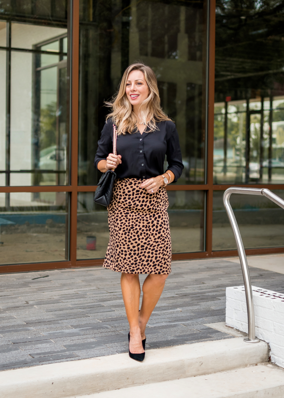 three fabulous work outfits with a pop of leopard honey we re home