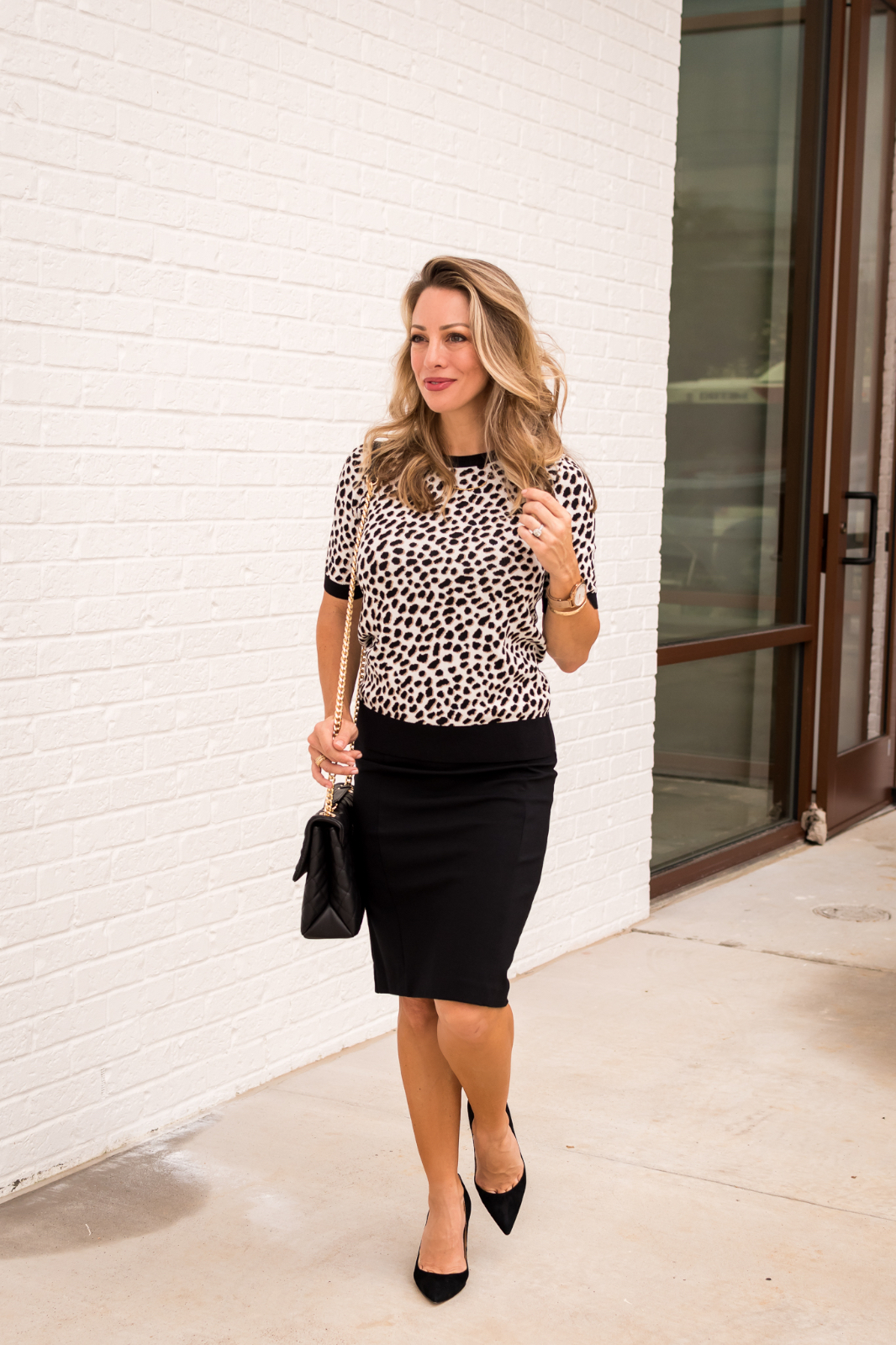Work Outfit -leopard sweater and black skirt 6