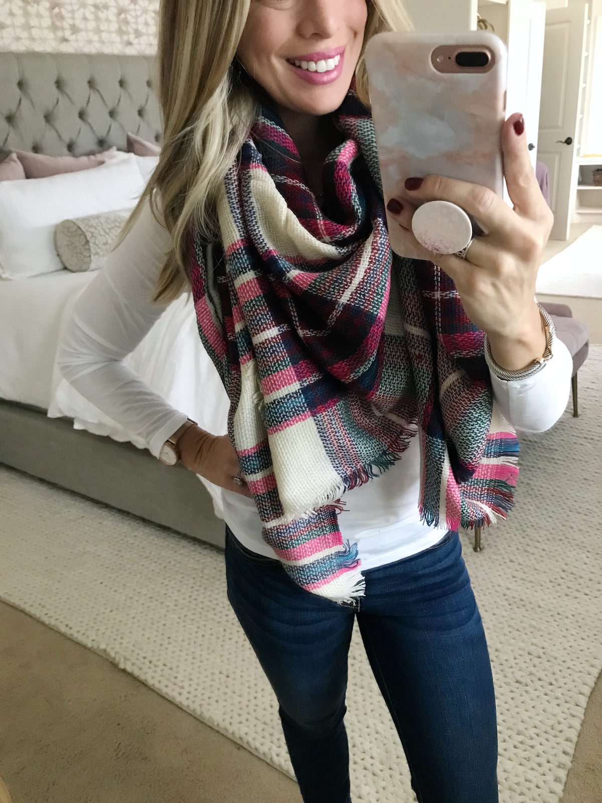 Amazon Fashion Prime Day Haul - pink plaid scarf