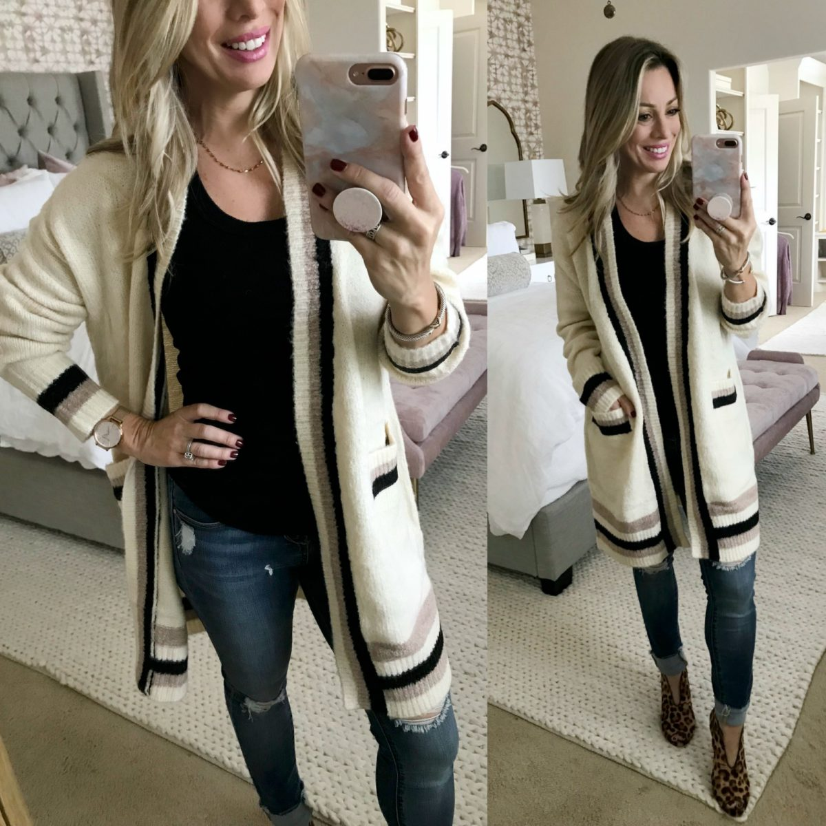 Amazon Haul Long Stripe Cardigan