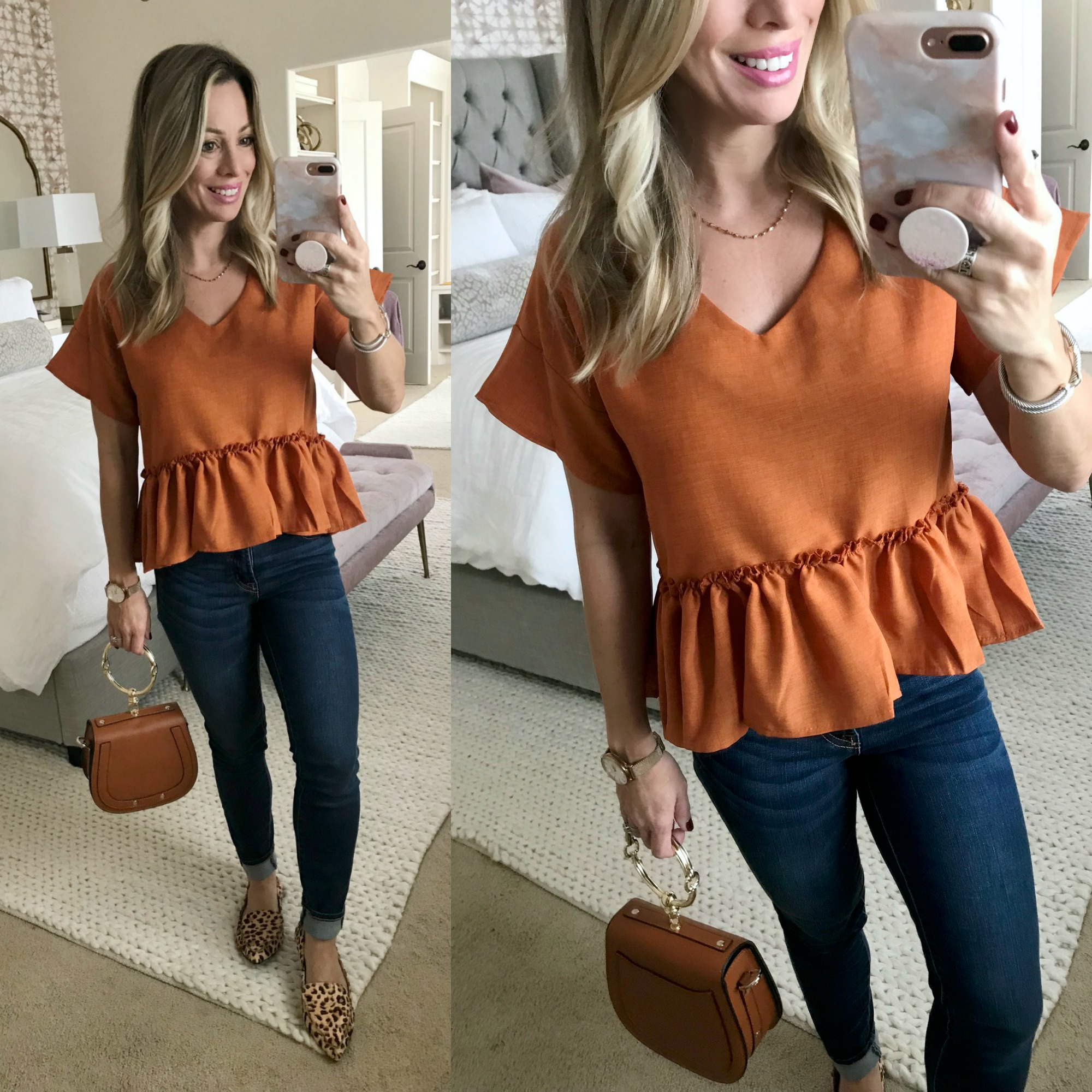 Amazon Haul orange peplum top