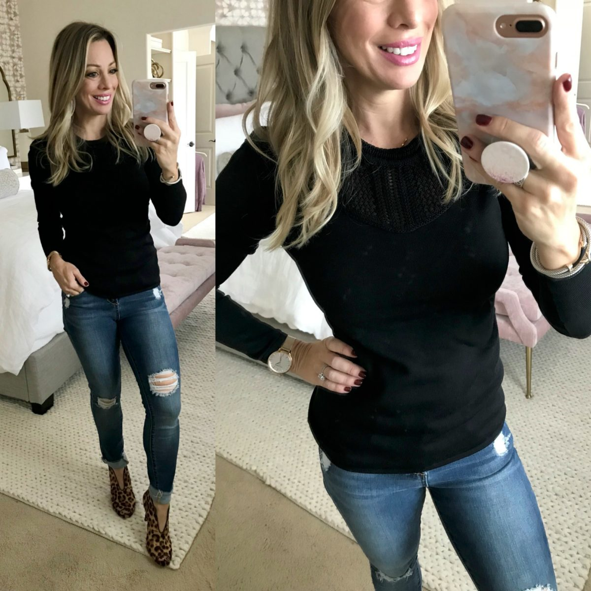 63d7a14de9 Amazon fashion haul black sweater jeans and leopard booties ...