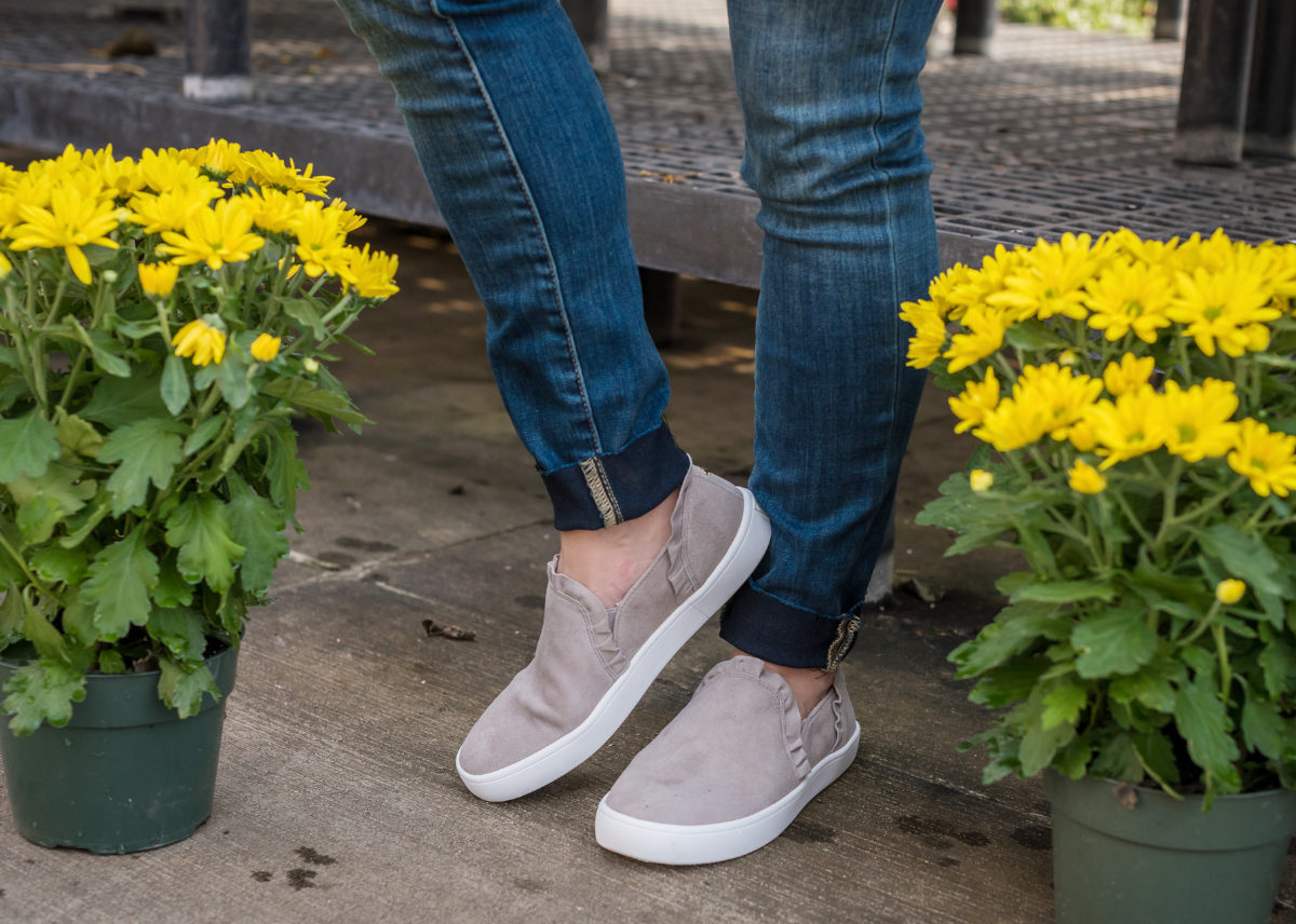 Comfy slip on sneakers with ruffles