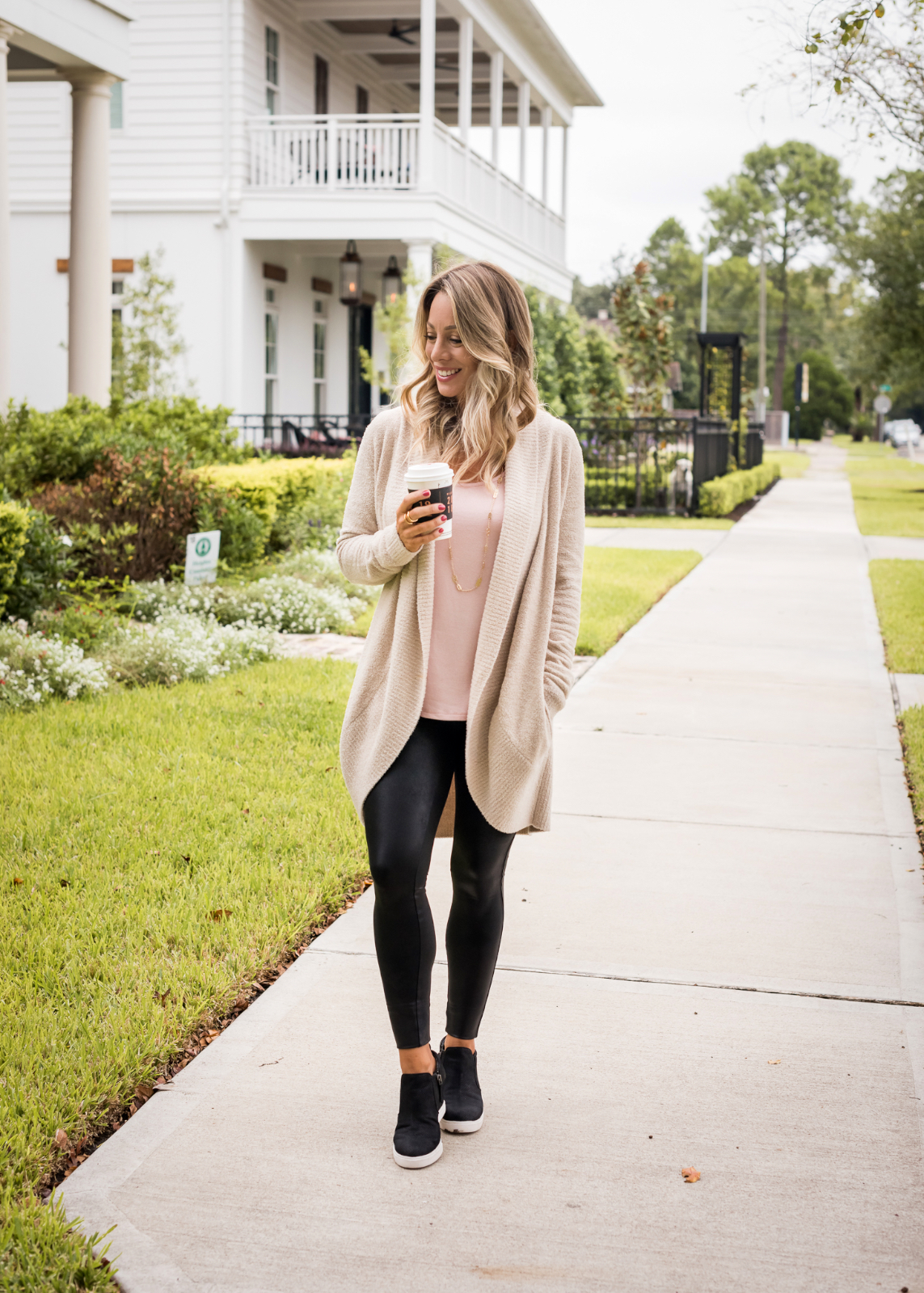 Cozy Fall Outfit Inspiration - Barefoot Dreams cardigan and Gibson soft tank with Spankx leggings and sneakers