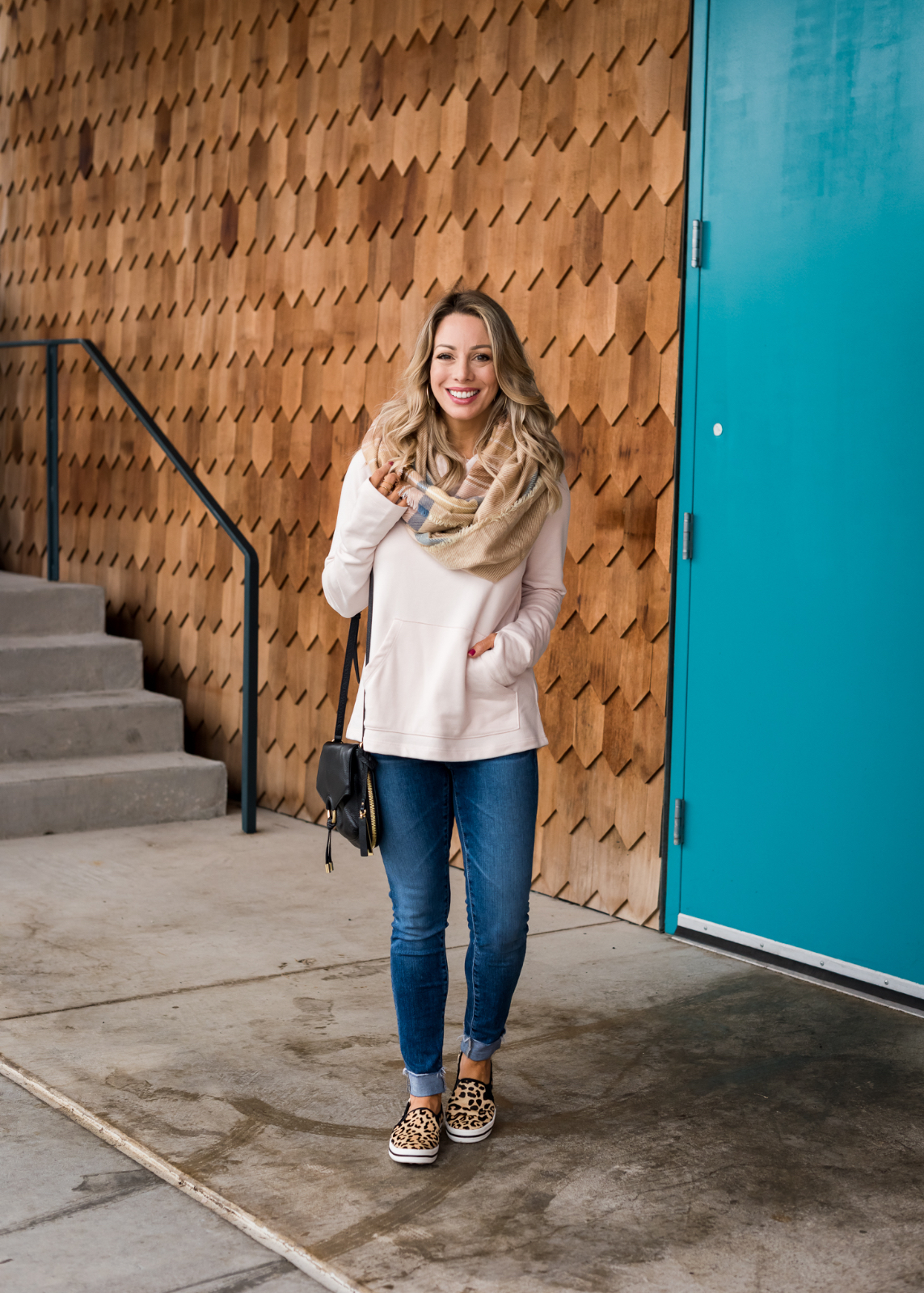 Cozy Fall Outfit Inspiration -Gibson pullover with skinny jeans and leopard sneakers
